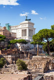 Ruins of a forum and Vittoriano.Italy. Rome. Stock Images