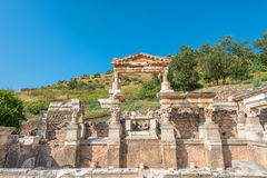 Ruins of the Fountain of Trajan in  Ephesus, Royalty Free Stock Photo