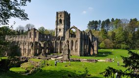 Ruins of Fountains Abbey, Studley Royal Water Garden. England stock photo