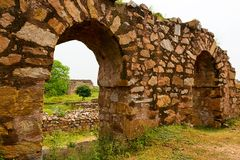 Ruins fragment of Tughlaqabad Fort in Delhi India Royalty Free Stock Photography