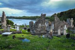 Franciscan abbey and graveyard. Donegal town. county Donegal. Ireland. Ruins of the franciscan abbey of the four masters and graveyard. Donegal town. county Stock Photography