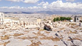 Ruins in front of Athens Scenery Royalty Free Stock Image