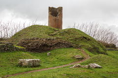 Ruins of funeral monuments along ancient Appian Way near Rome Stock Photo