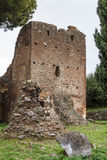 Ruins of funeral monuments along ancient Appian Way near Rome Stock Images