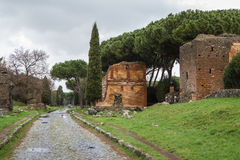 Ruins of funeral monuments along ancient Appian Way near Rome. Italy Royalty Free Stock Image