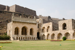 Golkonda fort lawn, India. Ruins and gardens of the medieval Mogul Empire Golkonda Fort in Hyderabad, India Royalty Free Stock Photography