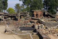 Ruins of the Gas chamber 2 in the Auschwitz II-Birkenau Stock Photos
