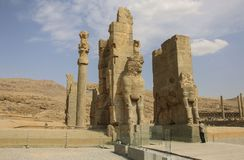 Ruins of the Gate of All Nations in the Persepolis in Shiraz, Ir stock images