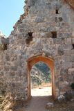 Ruins of Gate at Monfort Castle. Ruins of Monfort castle gate structure, crusader castle in western Galilee, Israel Royalty Free Stock Photography