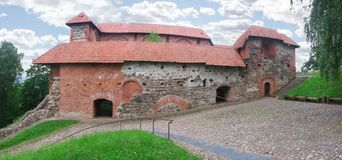 Ruins of Gediminas castle palace. Nearby Gediminas castle west tower in Vilnius. Lithuania royalty free stock image