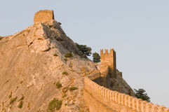 Ruins of The Genoa Fortress in Sudak, Crimea Stock Photography
