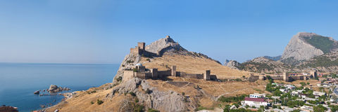 Ruins of The Genoa Fortress in Sudak, Crimea Royalty Free Stock Photography