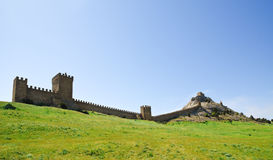 Ruins of The Genoa Fortress in Sudak Royalty Free Stock Images