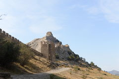 Ruins of the Genoa Fortress in Sudak Stock Photography