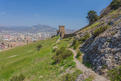 Ruins of The Genoa Fortress in Sudak, Royalty Free Stock Image