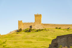 Ruins of The Genoa Fortress in village of Sudak Crimea, Ukraine Royalty Free Stock Images