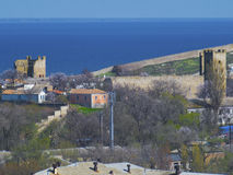 Ruins of the Genoese fortress in Crimea Stock Images