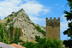 Ruins of the Genoese fortress royalty free stock image
