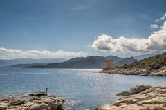 Genoese tower at Mortella near St Florent in Corsica. Ruins of the Genoese tower at Mortella beside the mediterranean sea on the rocky coastline of the Desert Stock Photography