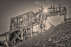 Ruins of gold mine in Rocky Mountains. Ruins of gold mine near Mosquito Pass in Rocky Mountains, Colorado - upper station of aerial tramway used to transport royalty free stock photo
