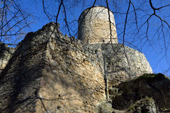 Ruins of a gothic castle with a tall tower. Ruins of a gothic castle Cimburk with a tall tower in the Czech republic Royalty Free Stock Image