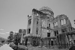 Ruins of the grand Hiroshima dome as a symbol and memorial of Hiroshima's atomic disaster during the second World War. In the Hiroshima Peace Memorial Park Royalty Free Stock Photo