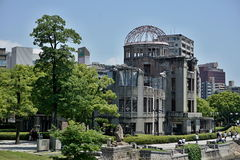 Ruins of the grand Hiroshima dome as a symbol and memorial of Hiroshima's atomic disaster during the second World War. In the Hiroshima Peace Memorial Park Stock Photos