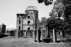 Ruins of the grand Hiroshima dome as a symbol and memorial of Hiroshima's atomic disaster during the second World War. In the Hiroshima Peace Memorial Park Royalty Free Stock Photos