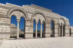 Ruins of The Great Basilica - largest Christian cathedral in medieval Europe near The capital city of the First Bulgarian Empire. Pliska, Bulgaria royalty free stock photography
