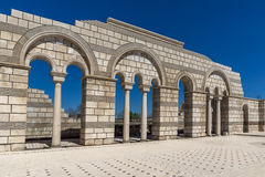 Ruins of The Great Basilica - largest Christian cathedral in medieval Europe near The capital city of the First Bulgarian Empire. Pliska, Bulgaria stock images