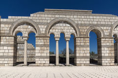 Ruins of The Great Basilica - largest Christian cathedral in medieval Europe near The capital city of the First Bulgarian Empire. Pliska, Bulgaria royalty free stock image