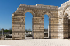 Ruins of The Great Basilica - largest Christian cathedral in medieval Europe near The capital city of the First Bulgarian Empire. Pliska, Bulgaria stock photo