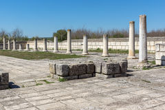 Ruins of The Great Basilica - largest Christian cathedral in medieval Europe near The capital city of the First Bulgarian Empire. Pliska, Bulgaria royalty free stock photo