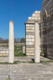 Ruins of The Great Basilica - largest Christian cathedral in medieval Europe near The capital city of the First Bulgarian Empire. Pliska, Bulgaria royalty free stock images