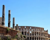 Ruins of great stadium Colosseum, Rome, Italy Royalty Free Stock Photo