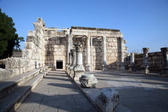 Ruins of the great synagogue of Capernaum. Israel Royalty Free Stock Photo