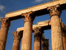 Ruins in Greece. Beautiful details of greek columns in ancient temple stock photo