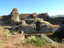 Ruins of a greek ancient town in west Turkey Stock Photos