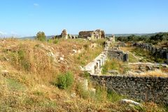 Ruins of a greek ancient town in west Turkey Stock Image