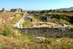 Ruins of a greek ancient town in west Turkey Stock Photography
