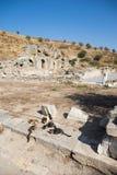 Ruins of greek city Ephesus. In Turkey,cats eating Stock Image