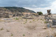 The ruins of the Greek - Roman city of the 3rd century BC - the 8th century AD Hippus - Susita on the Golan Heights near the Sea o. F Galilee - Kineret, Israel Stock Photos