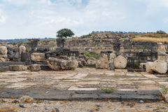 The ruins of the Greek - Roman city of the 3rd century BC - the 8th century AD Hippus - Susita on the Golan Heights near the Sea o. F Galilee - Kineret, Israel royalty free stock photos