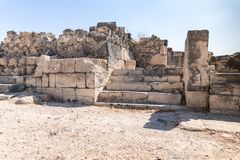 The ruins of the Greek - Roman city of the 3rd century BC - the 8th century AD Hippus - Susita on the Golan Heights near the Sea o. F Galilee - Kineret, Israel stock images