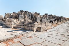 The ruins of the Greek - Roman city of the 3rd century BC - the 8th century AD Hippus - Susita on the Golan Heights near the Sea o. F Galilee - Kineret, Israel stock photography
