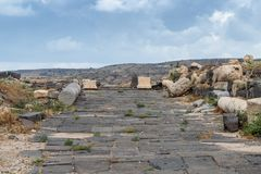 The ruins of the Greek - Roman city of the 3rd century BC - the 8th century AD Hippus - Susita on the Golan Heights near the Sea o. F Galilee - Kineret, Israel Royalty Free Stock Photo