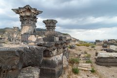 The ruins of the Greek - Roman city of the 3rd century BC - the 8th century AD Hippus - Susita on the Golan Heights near the Sea o. F Galilee - Kineret, Israel Royalty Free Stock Image