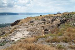 The ruins of the Greek - Roman city of the 3rd century BC - the 8th century AD Hippus - Susita on the Golan Heights near the Sea o. F Galilee - Kineret, Israel Stock Image