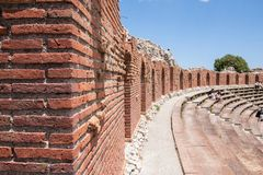 Teatro di Taormina, Sicily, Italy. Ruins of the greek roman theater of Taormina, Sicily, Italy on a hot summer day Royalty Free Stock Photography