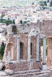 Teatro di Taormina, Sicily, Italy. Ruins of the greek roman theater of Taormina, Sicily, Italy on a hot summer day Stock Photography